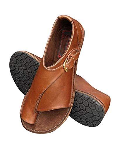 Women Comfy Platform Sandal Shoes Summer Beach Travel Shoes Stylish Clip Toe Flip Flops Peep Toe Flat Shoes Brown 9.5 M US