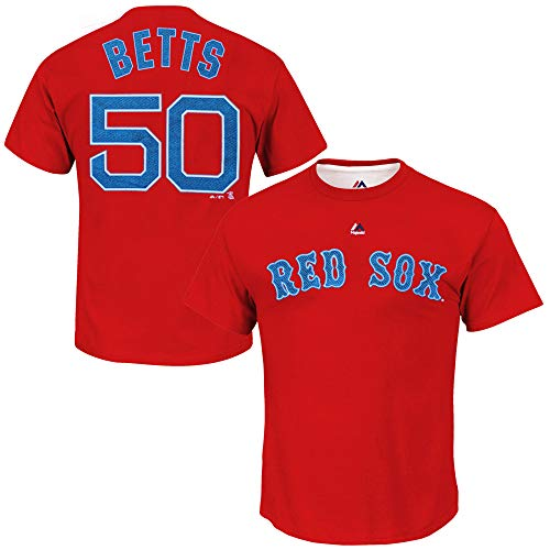 Men's Majestic Athletic Mookie Betts Red Boston Red Sox Official Name and Number T-Shirt (XX-Large)