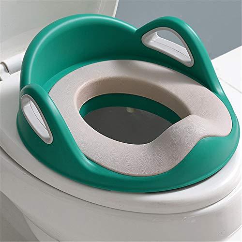 Toilettes pour enfants Potty Seat Secure Kids anneau de formation de toilette siège de formateur de toilette for enfants avec coussin en PU souple Toilette ( Couleur : Vert , Taille : 33*35*16cm )