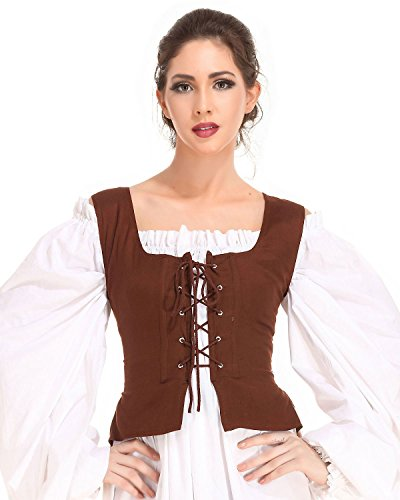 Pirate Wench Peasant Renaissance Medieval Costume Corset Bodice C1051 [Chocolate] (Small)