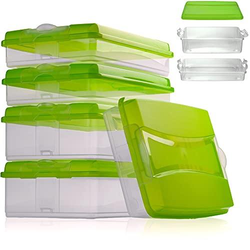 Hausfelder Aufschnittbox Organizer Set - stapelbar mit Deckel – Kühlschrank Wurstbox Aufschnittdosen (5 Aufschnittboxen: 3X flach, 2X hoch)
