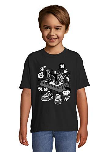 Iprints Cartoon Style Old Mechanic Sewing Machine T-shirt voor kinderen