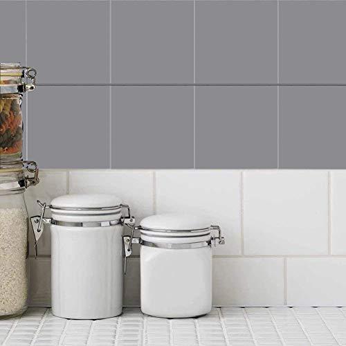 Holoras - Adesivi da Parete per Piastrelle da Bagno e Cucina, 50 Pezzi, Dimensioni: 15,2 x 15,2 cm, Grigio, 4 * 4 Inches