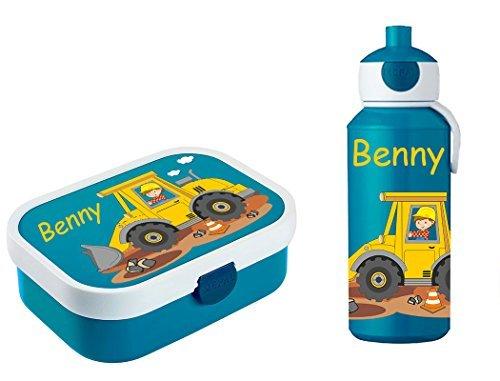 Mein Zwergenland Brotdose Mepal Campus inkl. Bento Box und Gabel + Campus Pop-up Trinkflasche mit Namen Blau, Baustelle