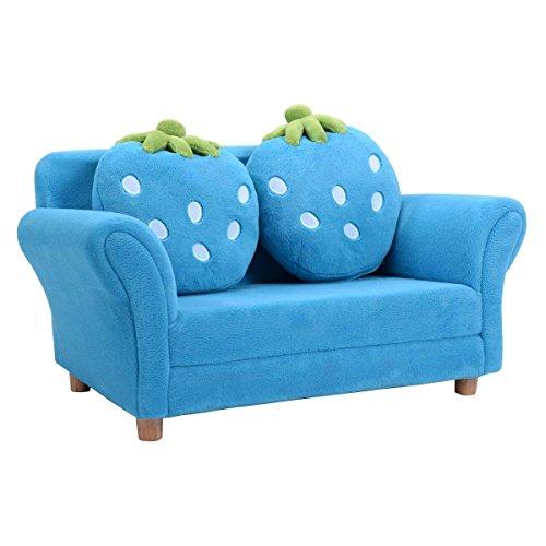 COSTWAY Sofá para Niños 90x54,8x48cm Sofá para Infantil 2 Plazas de Terciopelo Coral con 2 Almohadas(Azul)