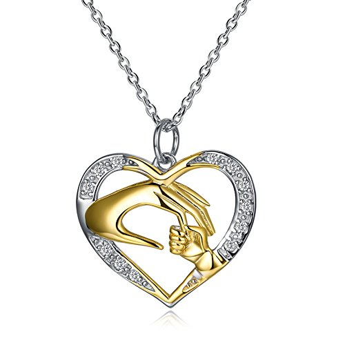 Ecloud Shop Collar en Forma de corazón Plateado de la Astilla con la Mano de Oro de la Madre con la Mano del niño joyería Elegante clásica de Las Mujeres