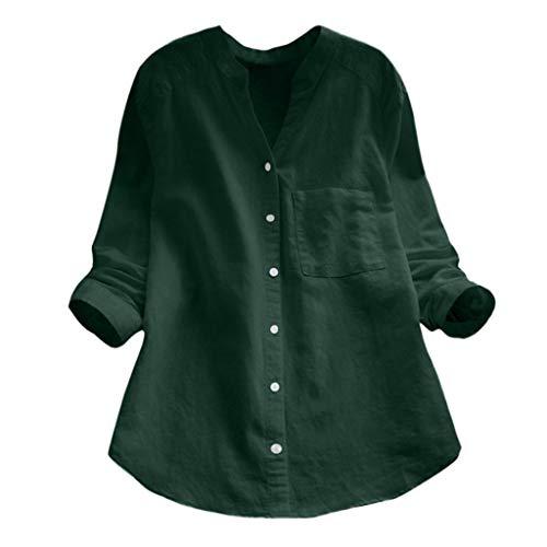 HIRIRI - Blusa de algodón y lino para mujer, XL