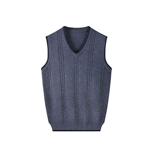 Männer Warme Weste, Strick V-Ausschnitt Pullunder Außen Gepolsterte Weste Geeignet for Vater Danksagungs-Geschenk (Color : Medium Gray, Größe : Medium)