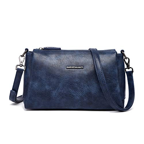Crossbody Bag for Women, Purses and Handbags Vegan Leather Shoulder Bag with Triple Zip Pocket and Two Detachable Straps (D BLUE-02(1339))
