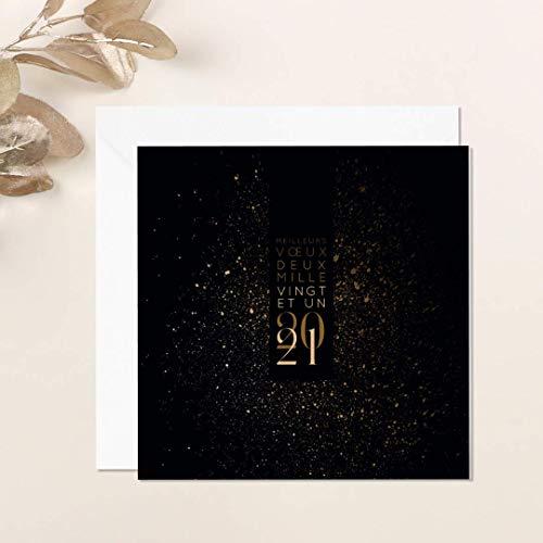 Carte de voeux 2021 • Lumière • Lot de 16 Cartes • Papier haut de gamme • 16 Enveloppes Blanches Autocollantes • 14x14 cm Pliée • Idéal pour souhaiter la Bonne Année • Popcarte