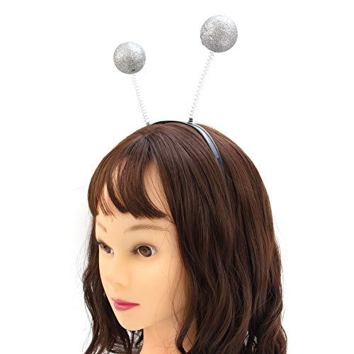 AUEAR, 6 Pcs Crazy Space Martian Antenna Headband Alien Headpice Boppers Space Novelty Headband Silver Glitter Ball fo Funny Party and Costume Accessory