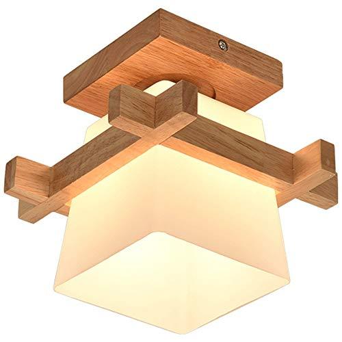 Artpad Simple Japan Tatami E27 Lampada in legno Corridoio Corridoio Portico Balcone Plafoniere Lampada moderna a soffitto in vetro