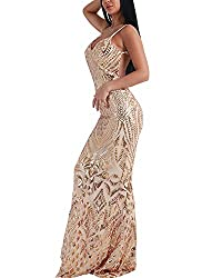 Gold Off Shoulder Sequin Backless Sleeveless Maxi Dress