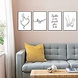 Juego de 4 impresiones de pared, diseño de amor y pósteres cuadros modernos para salón, póster a jue...