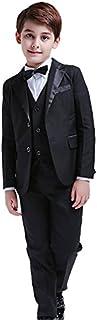 5Pcs Boys Suits Formal Blazer Classic Fit Tuxedo Set Wedding Party Black Suit