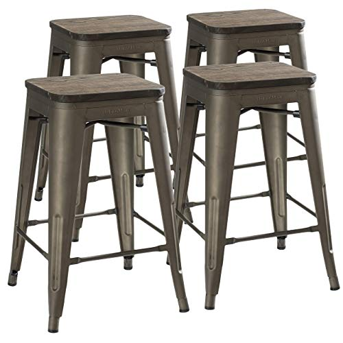 UrbanMod 24 Inch Bar Stools for Kitchen Counter Height, Indoor Outdoor Metal,Rustic Gunmetal, Wooden...