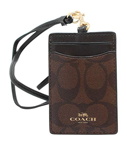 Coach Signature PVC Lanyard ID Badge Card Holder (Brown/Black)