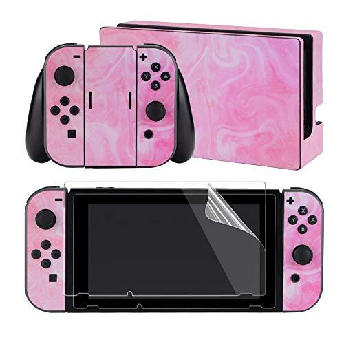 eXtremeRate Aufkleber Sticker Skin Decal Folie Abziehbild Faceplates Kleberfolie mit 2 Displayschutzfolie für Nintendo Switch/NS Konsole&Joy-Con&Dock&Griff(Psychedelisches Pink)