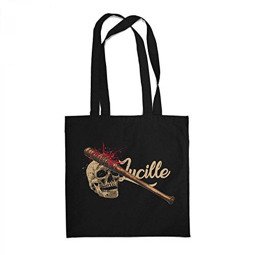 Fashionalarm Stoffbeutel - Lucille Skull | Beutel Baumwolltasche zur Serie T-W-D als Geschenk Idee für Fans | Dead Walking Negan The Saviors, Farbe:schwarz