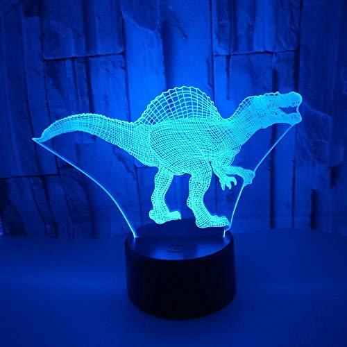 Lampara Infantil Mesilla, Luz De Noche 3d, Luz Nocturna Infantil Luces Nocturnas Ilusión 3D Dinosaurio Para Niños 7 Colores Cambiantes Y Función Regulable Regalo De Cumpleaños