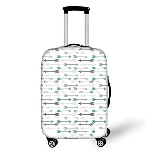 Travel Luggage Cover Suitcase Protector,Teal Decor,Retro Arrow Pattern In Horizontal Line Heading To Opposite Directions Artwork Decorative,Grey Teal White,for Travel M
