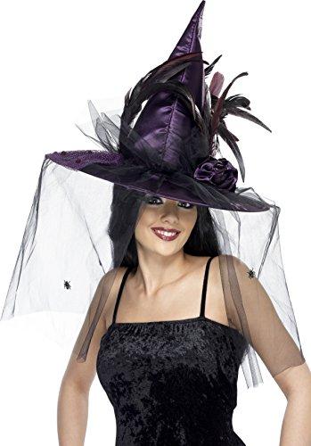 Halloween! Smiffys Hut Hexe, Purpur, mit Federn und Netz, Deluxe