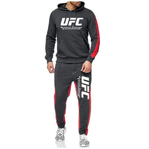 3D Felpa con Cappuccio Stampata Felpe con Cappuccio E Pantaloni Sportivi Grigi, Tuta da Fitness All'aperto UFC Adulto, Senza Cerniera, 3 Stili (Color : Style-1, Size : X-Large)