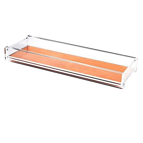 Zodaca [Deluxe Acrylic Design] Pencil Pen Tray Desktop Organizer, Clear/Rose Gold