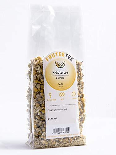 FRUTEG Kamillen-Blüten Tee I Kräutertee lose I Echte Kamille getrocknet I Handverlesen und 100% natürlich I Vielseitig verwendbar als Tee, Sitzbad, Dampfbad oder Spülung I 50 g Packung