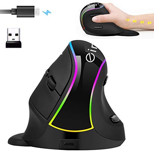 Ergonomic Vertical Mouse, Eirix USB Computer Mice with 5 Adjustable DPI Levels, Removable Palm Rest & Thumb Buttons (E-638)