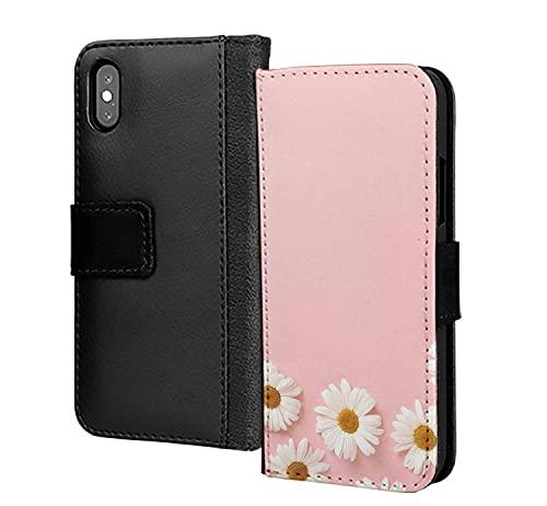 Rosa Margaritas Frontera Retro Duro Impreso PU Cuero Cartera en la tarjeta de la caja del teléfono para el iPhone 6 Plus 6s Plus