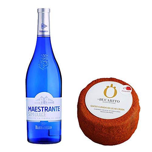 Pack de Vino blanco Maestrante y Queso Curado de Leche Cruda en Pimenton - Vino de 75 cl y Queso de 900 g aprox - Mezclanza
