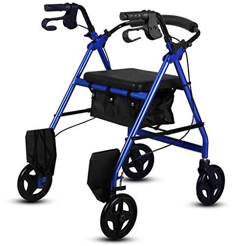 LXDDJZXQ Andador para Ancianos Walker, Carro de Compras Plegable de Aluminio for Caminar, Ayuda for Caminar, Andador, Carrito con Asiento, Freno de Mano y reposapiés Azul