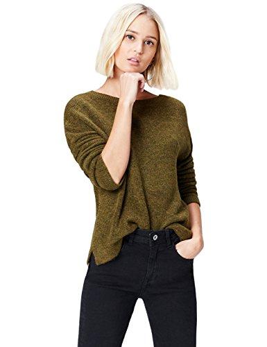 find. Pullover Damen meliert, gerippt, mit rundem Ausschnitt und tiefem V-Ausschnitt auf dem Rücken, Braun (Khaki), 36 (Herstellergröße: Small)