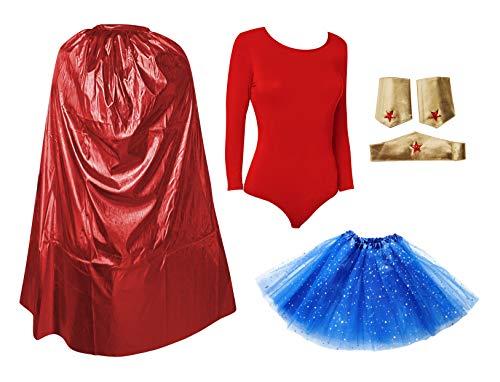 Disfraz Superhroe Poder Nia Mujer, Conjunto Falda Tut con Estrella, Maillot Body, Capa, Pulseras y Tocado (Pack rojo superwoman, XS(14-16aos))