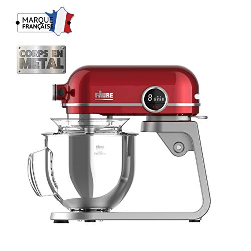 Faure FKM-804MP1 Robot Pâtissier Magic Baker Premiuim - 800W transmission directe -Mouvement Planétaire - Bol Inox 5,2L - Coloris Rouge