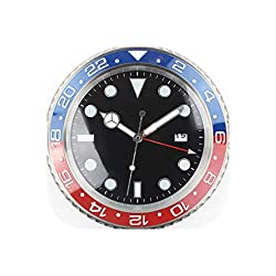 Wall Clock 1Piece Metal Watch Shape Wall Clock Calender Wall Clock with Date,Silver,38 cm