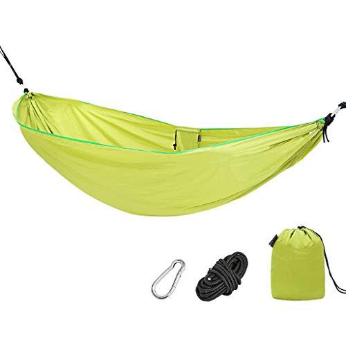DAGCOT Hamacas de Camping Hamaca de algodón Individual Outdoor Swing Anti-Rollover Silla Colgante Camping Camping Travel Hammock 102.3x55.1 Pulgadas (Amarillo y Azul) Columpio (Color : A)