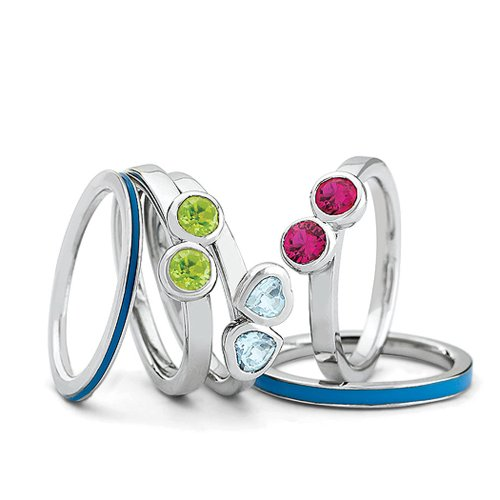 Sterling Silver, Enamel and Multi Gemstone Stackable Ring Set Size 10