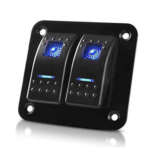 RUIZHI 2 Gang Panel de Interruptor Basculante 12 V / 24 V Interruptores Universales de Aluminio con LED Azul Toggle Switch para Coche Barco
