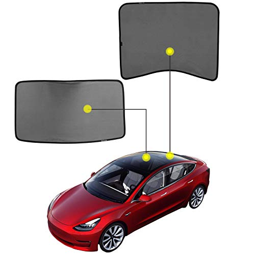 Angooni Model 3 Glass Roof Rear Window Sunshade - [2 of Set], Sunroof Sunshade Compatible for Tesla Model 3