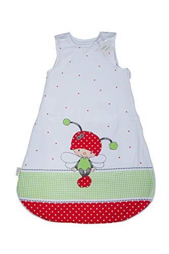 Herding Baby Best Baby-Schlafsack, Käferchen Motiv, 70 cm, Seitlich umlaufender Reißverschluss und Druckknöpfe, Weiß