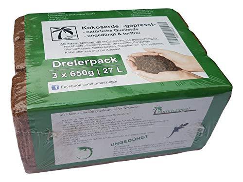 Humusziegel - Aussaaterde Kokoserde - gepresste Blumenerde - Kokosblumenerde 27 L - 3 x 650 g