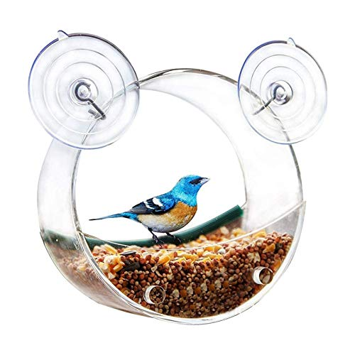 Lamps 2 uds comedero para pájaros con Ventana Transparente Jaula acrílica para pájaros Extra Grande comedero para pájaros Redondo único con ventosas Fuertes Suministros para pájaros