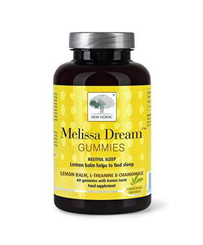New Nordic Melissa Dream Gummies, for Natural Normal Sleep, with L-Theanine, Chamomile and Lemon Balm, Natural Lemon Taste, 60 Gummies