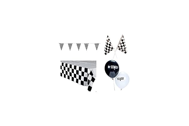 """5 x Chequered Flag Balloons 11"""" Racing Cars Bikes Finish Line Party latex"""
