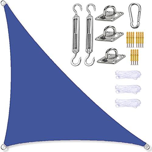 GOODLUKY Toldo Vela De Sombra Triangular Impermeable, Protección Rayos UV Transpirable Toldo Vela De Sombra para Jardín Al Aire Libre Patio Fiesta (Azul Marino)