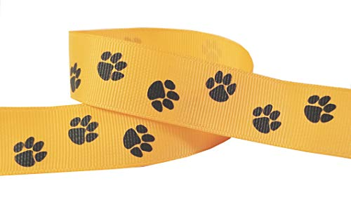 Q-YO Paw Prints Ribbon for Crafts-High School Spirit Grosgrain Ribbon for Breast Cancer Awareness Products, Gift Wrapping, Cheer Bows, Pony Streamers (5yd 7/8' Paw, Yellow Gold/Black)