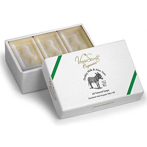 Sapone naturale con latte d'asina e olio d'oliva biologico – Set regalo di lusso – Confezione da 3 saponette – 450 gr