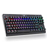 Mechanical Gaming Keyboard,MechanicalEagle Z-77 Multicolor 9-Mode Backlit 87-Key Real Mechanical Keyboard 87-Key with Blue Switches - DIY Spare Switches and Tool Included - Black